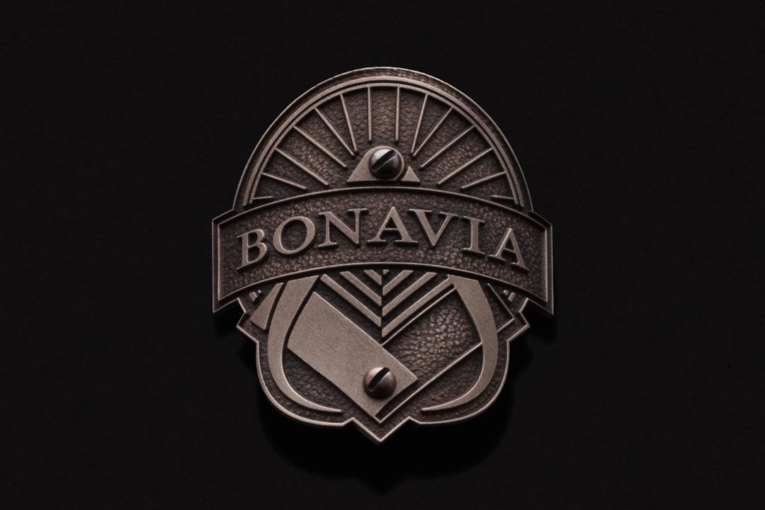 Bonavia Cycles, Head Tube Badge Nickel Silver