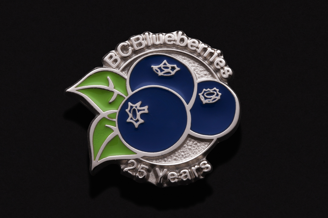 British Columbia Blueberries, 25 Year Pin Nickel Plated