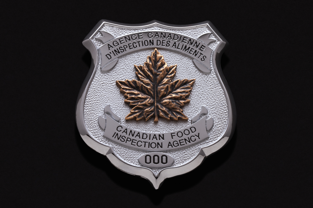 Canada Food Inspection Agency, Wallet Badge Chrome Plated, Commercial Bronze