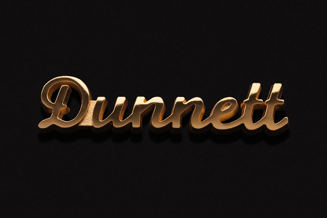Dunnett Classic Drums Logo, Emblem Gold Plated