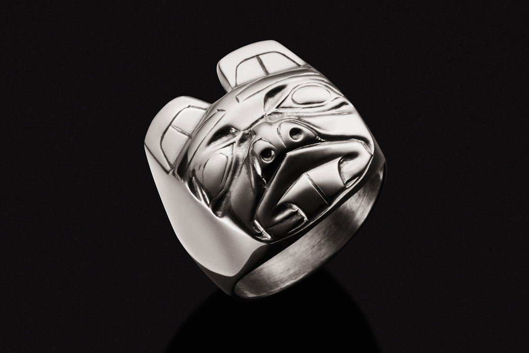 First Nations Bear Mask, Ring Sterling Silver