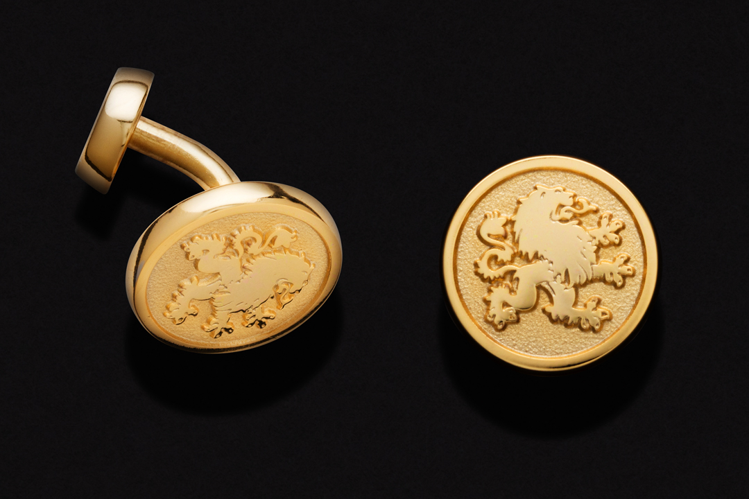 Minichiello Bespoke Couture Logo, Cufflinks 10K Yellow Gold