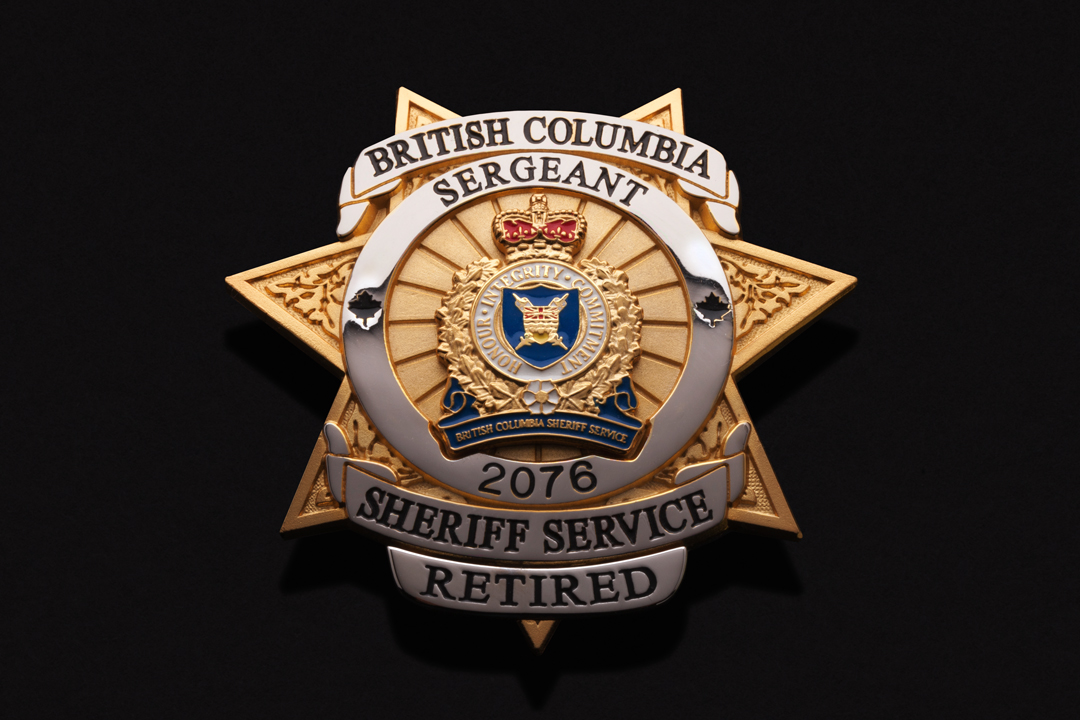 Sheriff Service of British Columbia Retired Sergeant, Wallet Badge Nickel and Gold Plated