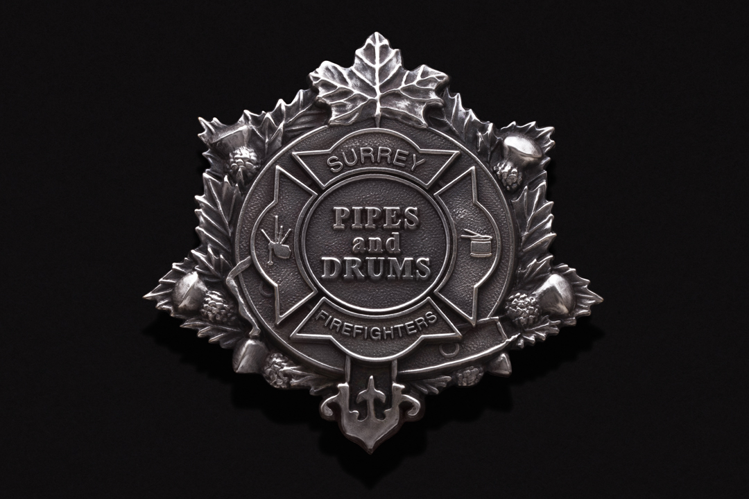 Surrey Fire Department Pipe Band, Cap Badge Silver Plated